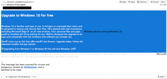 Upgrade to Windows 10 for free. Image from blogs.cisco.com